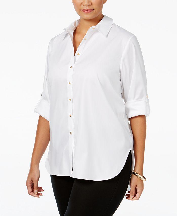 Calvin Klein - Plus Size Button-Front High-Low Tunic Shirt