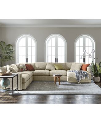 clinton fabric 3piece chaise sectional
