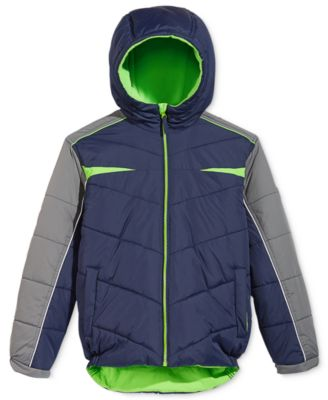 Image of Protection System Boys' Colorblocked Hooded Bubble Jacket