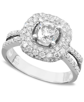 engagement ring diamond 2 ct tw and 14k white gold - Macy Wedding Rings