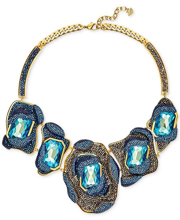 Swarovski - Gold-Tone Multi-Crystal and Pavé Dramatic Statement Necklace