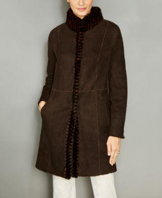 The Fur Vault Mink-Fur-Trim Hooded Shearling Lamb Coat - The Fur ...