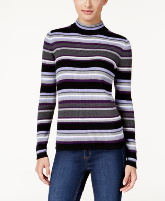Karen Scott Petite Striped Ribbed Sweater, Only at Macy's ...