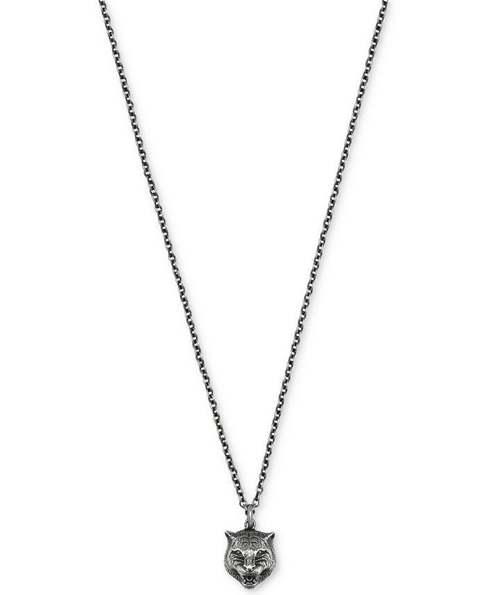 Gucci - Men's Sterling Silver Feline Head Pendant Necklace YBB43360800100U