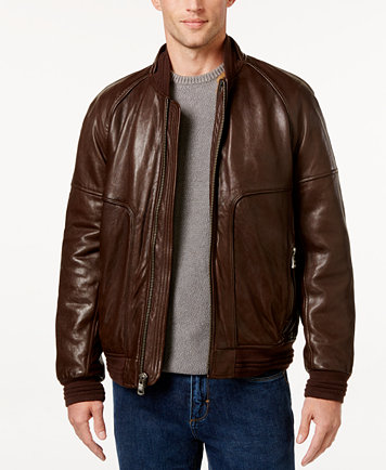 Andrew Marc Men's Gustavus Evergrain Leather Baseball Jacket ...