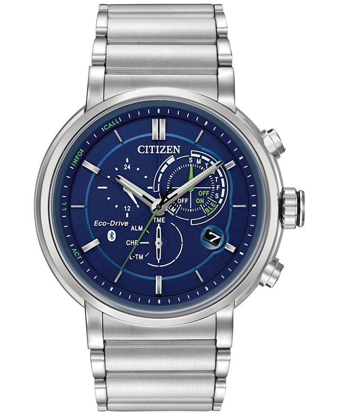 Citizen - Men's Chronograph Proximity Stainless Steel Bracelet Smartwatch 46mm BZ1000-54L