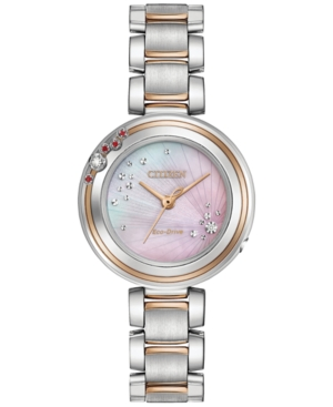 Citizen Eco-Drive Women's Carina Diamond & Ruby Accent Two-Tone Stainless Steel Bracelet Watch 28mm EM0466-53N, Limited Edition