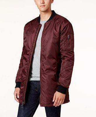 GUESS Men's Liam Satin Long Bomber Jacket - Coats & Jackets - Men ...