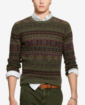 Men's Vintage Style Sweaters – 1920s to 1960s Polo Ralph Lauren Mens Fair Isle Sweater $285.00 AT vintagedancer.com