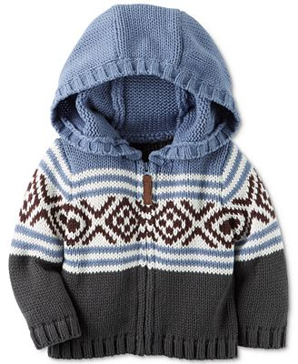 Carter's Fair Isle Hooded Sweater Jacket, Baby Boys (0-24 months ...