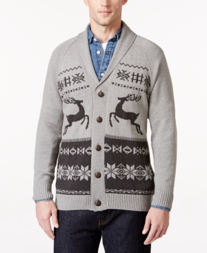 Men's Vintage Style Sweaters – 1920s to 1960s Weatherproof Vintage Mens Big and Tall Fair Isle Cardigan Only at Macys $44.99 AT vintagedancer.com