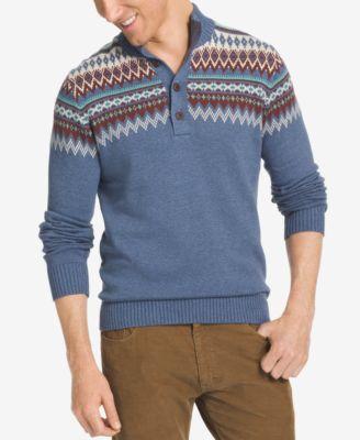 IZOD Men's Fair Isle Quarter-Button Sweater - Sweaters - Men - Macy's