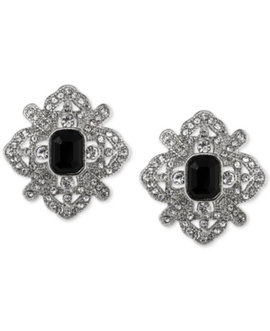 Vintage Style Jewelry, Retro Jewelry 2028 Silver-Tone Black Stone Fancy Button Stud Earrings $36.00 AT vintagedancer.com