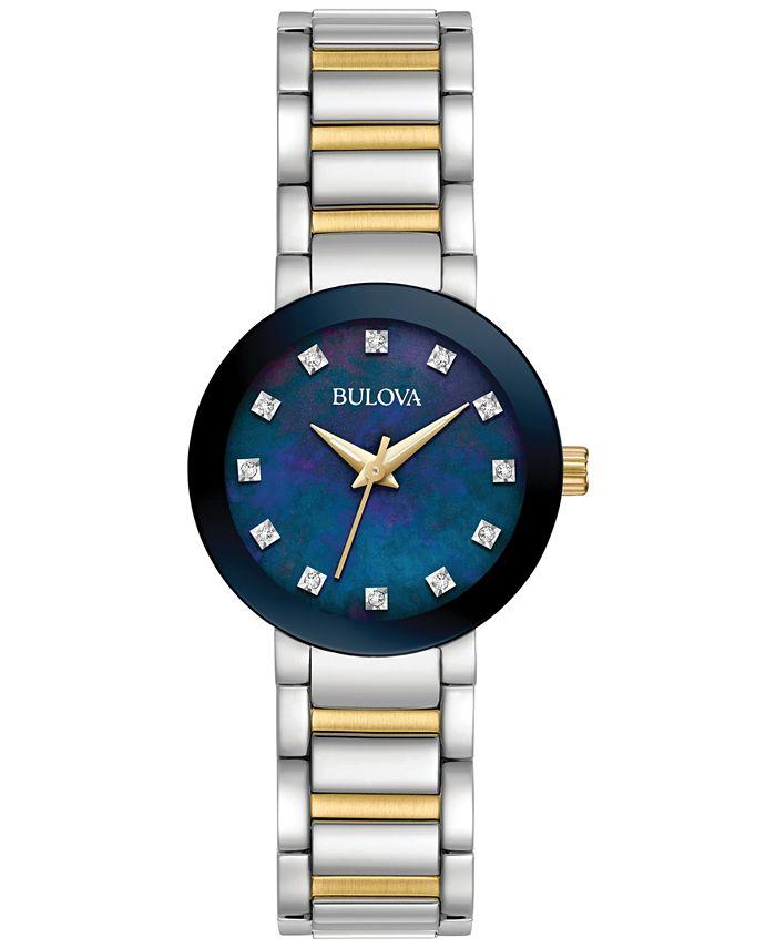 Bulova - Women's Diamond Accent Two-Tone Stainless Steel Bracelet Watch 26mm 98P157