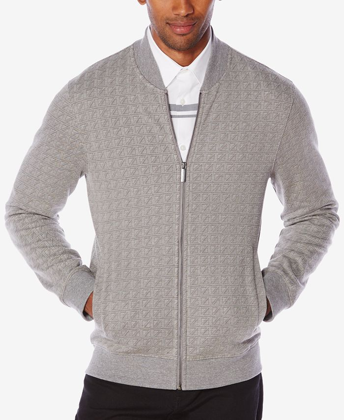 Perry Ellis - Men's Jacquard Zip-Front Sweater