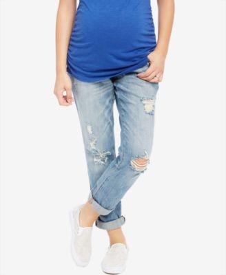 Indigo Blue Maternity Distressed Rinse Wash Boyfriend Jeans ...