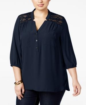 17f338037b9 UPC 704974045455 product image for Ny Collection Plus Size Lace-Yoke Blouse