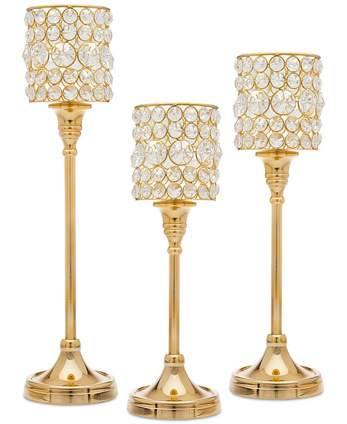 Godinger - 3-Pc. Crystal Taper Candlestick Set