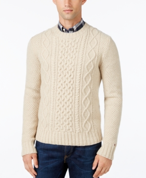 Men's Vintage Style Sweaters – 1920s to 1960s Tommy Hilfiger Mens Finn Cable-Knit Sweater $129.00 AT vintagedancer.com