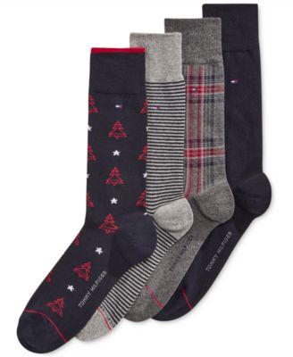 Tommy Hilfiger Men's 4 Pack Christmas Tree Socks - Socks - Men ...