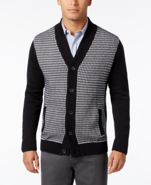 Men's Vintage Style Sweaters – 1920s to 1960s Alfani Mens Big and Tall Colorblocked Textured-Panel Cardigan Only at Macys $49.99 AT vintagedancer.com