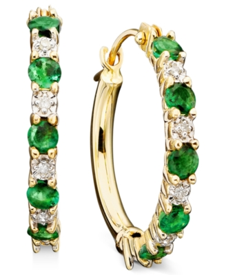 14k Gold Emerald (5/8 ct. t.w.) & Diamond Accent Hoop Earrings