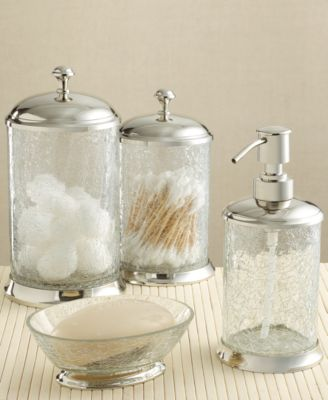 Paradigm Bath Accessories, Crackle Glass Soap/ Lotion Dispenser