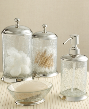 Paradigm Bath Accessories, Crackle Glass Jar