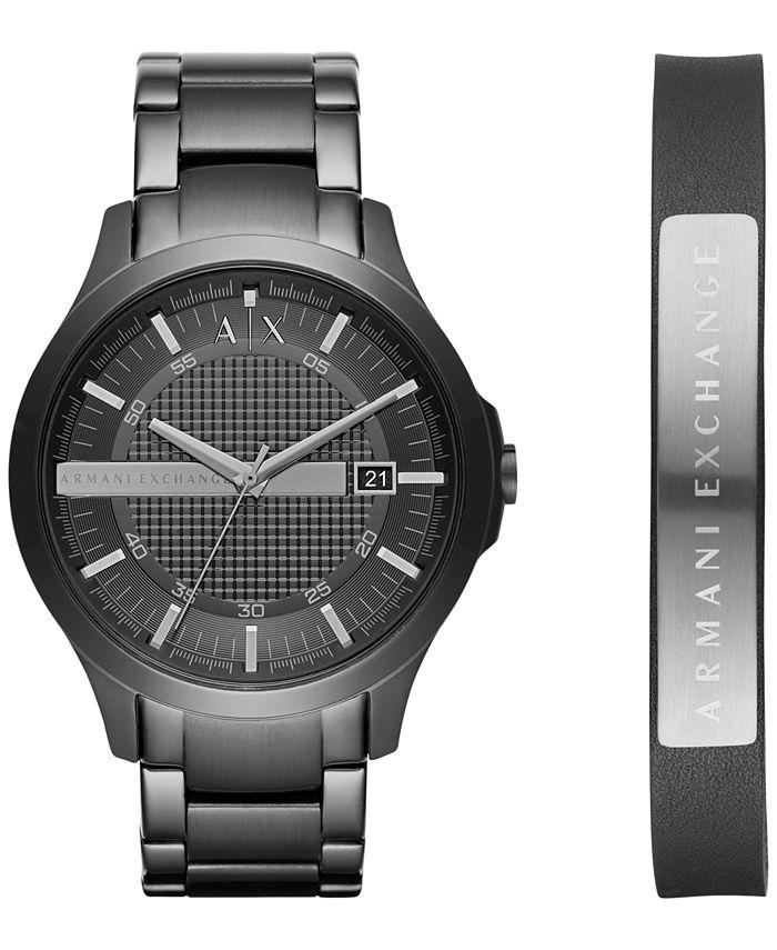A|X Armani Exchange - Men's Hampton Black Stainless Steel Bracelet Watch Gift Set 46mm X7101