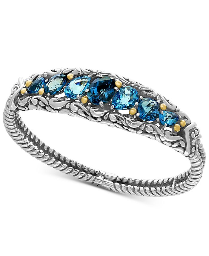 EFFY Collection - London Blue Topaz (7-1/2 ct. t.w.) and Swiss Blue Topaz (5-1/8 ct. t.w.) Ring in Sterling Silver and 18k Gold