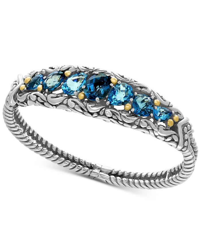 EFFY Collection EFFY® Ocean Bleu London Blue Topaz (7-1/2 ct. t.w.) and Swiss Blue Topaz (5-1/8 ct. t.w.) Bracelet in Sterling Silver and 18k Gold & Reviews - Bracelets - Jewelry & Watches - Macy's