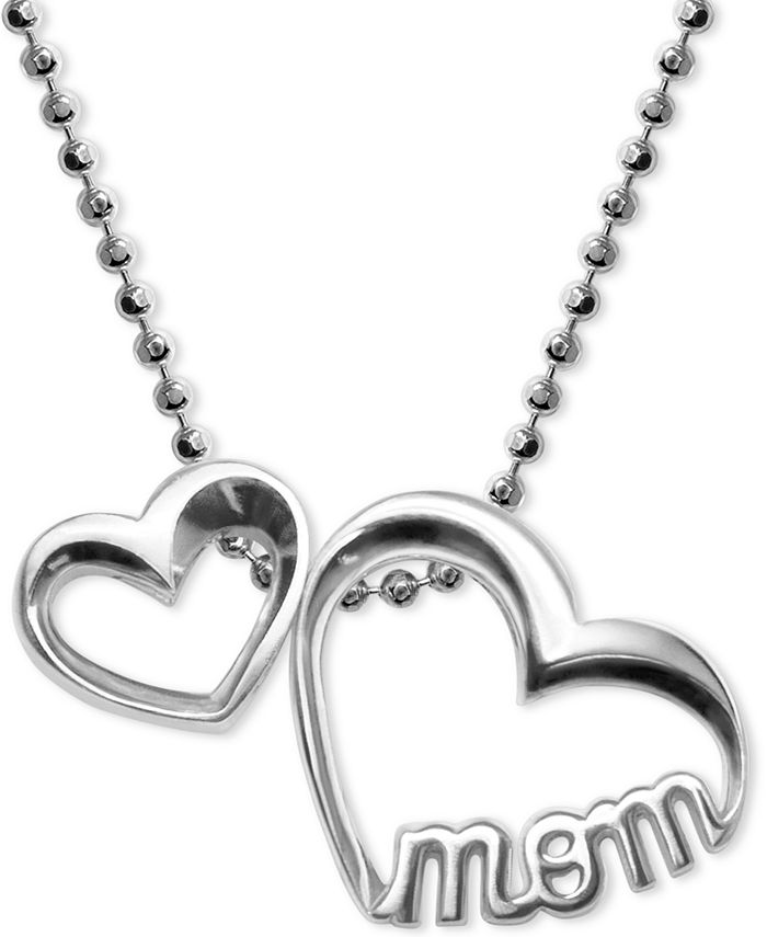 """Alex Woo - Double Heart """"Mom"""" Pendant Necklace in Sterling Silver"""