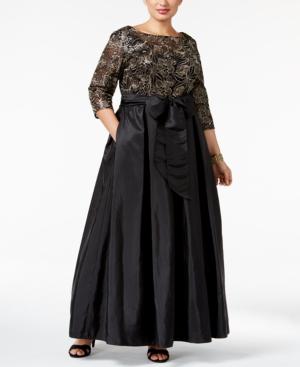 1950s Plus Size Dresses Alex Evenings Plus Size Sequined Floral Lace Gown $229.00 AT vintagedancer.com