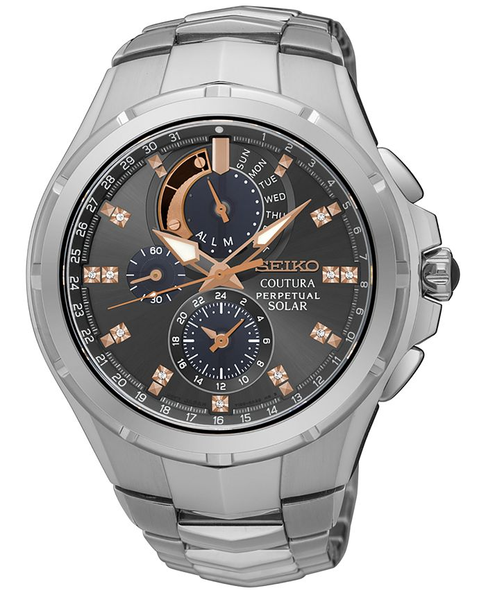 Seiko - Men's Solar Chronograph Coutura Diamond Accent Stainless Steel Bracelet Watch 44mm SSC561