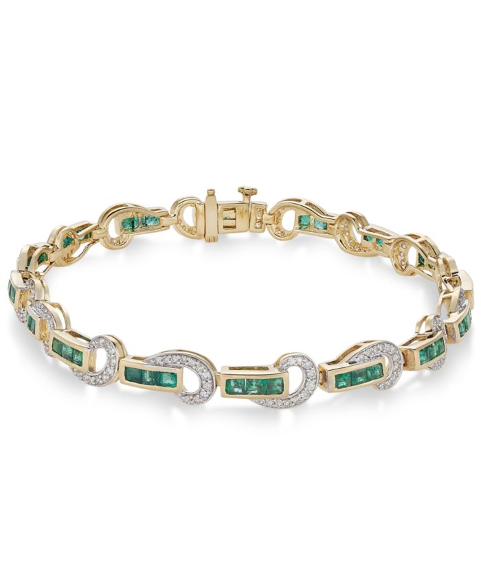 Macy's Emerald (2-1/2 ct. t.w.) and Diamond (5/8 ct. t.w.) Swirl Link Bracelet in 14k Gold(Also Available In Certified Ruby) & Reviews - Bracelets - Jewelry & Watches - Macy's