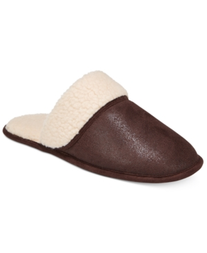 Club Room Men's Slippers, Steiger Brown Sherpa Scuff Slippers