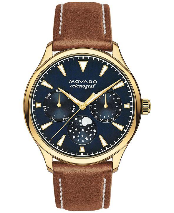 Movado Women's Swiss Heritage Celestograf Cognac Leather Strap Watch 36mm 3650010