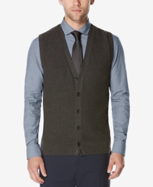 Men's Vintage Inspired Vests Perry Ellis Mens Button-Front Sweater Vest $69.50 AT vintagedancer.com