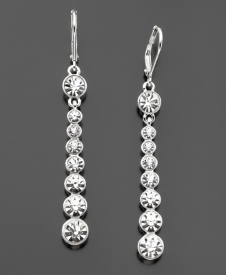Givenchy Silvertone Crystal Drop Earrings
