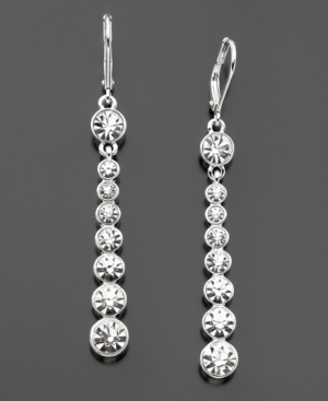 Givenchy Earrings, Silvertone Crystal Drop