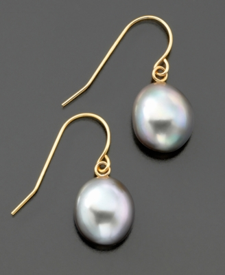Fresh by Honora 14k Gold Gray Baroque Cultured Freshwater Pearl Earrings (9-10mm)