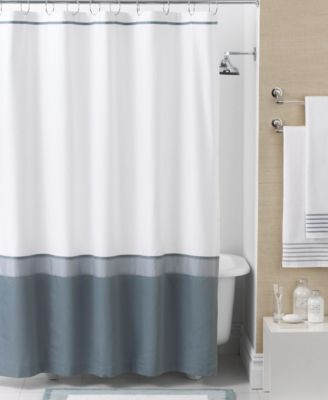 Hotel Collection Bath Accessories, Color Block Shower Curtain