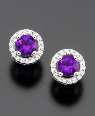14k White Gold Amethyst (3/8 ct. t.w.) & Diamond (1/10 ct. t.w.) Stud Earrings