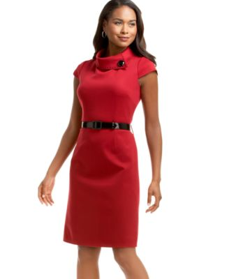 Tahari by ASL Fold-Neck Short-Sleeve Belted Ponte Dress