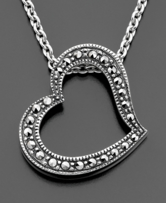 Judith Jack Sterling Silver Marcasite Heart Necklace