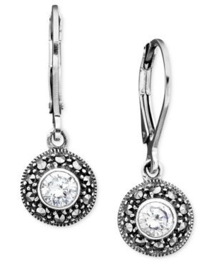 Judith Jack Sterling Silver Cubic Zirconia (1 ct. t.w.) & Marcasite Earrings