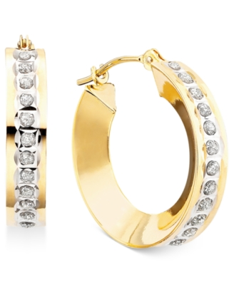 14k Gold Earrings, Diamond Accent Hoop