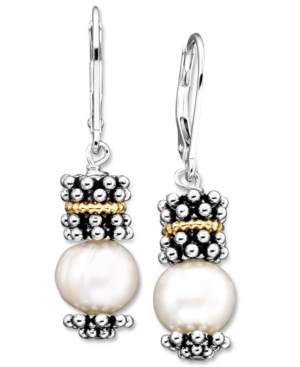 14k Gold & Sterling Silver Cultured Freshwater Pearl Earrings