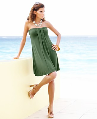 Kenneth Cole Draped-Front Tube Cover-Up Dress - Cover Ups Swimwear - Women's  - Macy's :  day dress beach dress clothing women