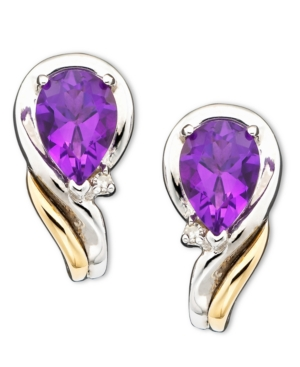 14k Gold & Sterling Silver Amethyst (1-1/3 ct. t.w.) & Diamond Accent Earrings